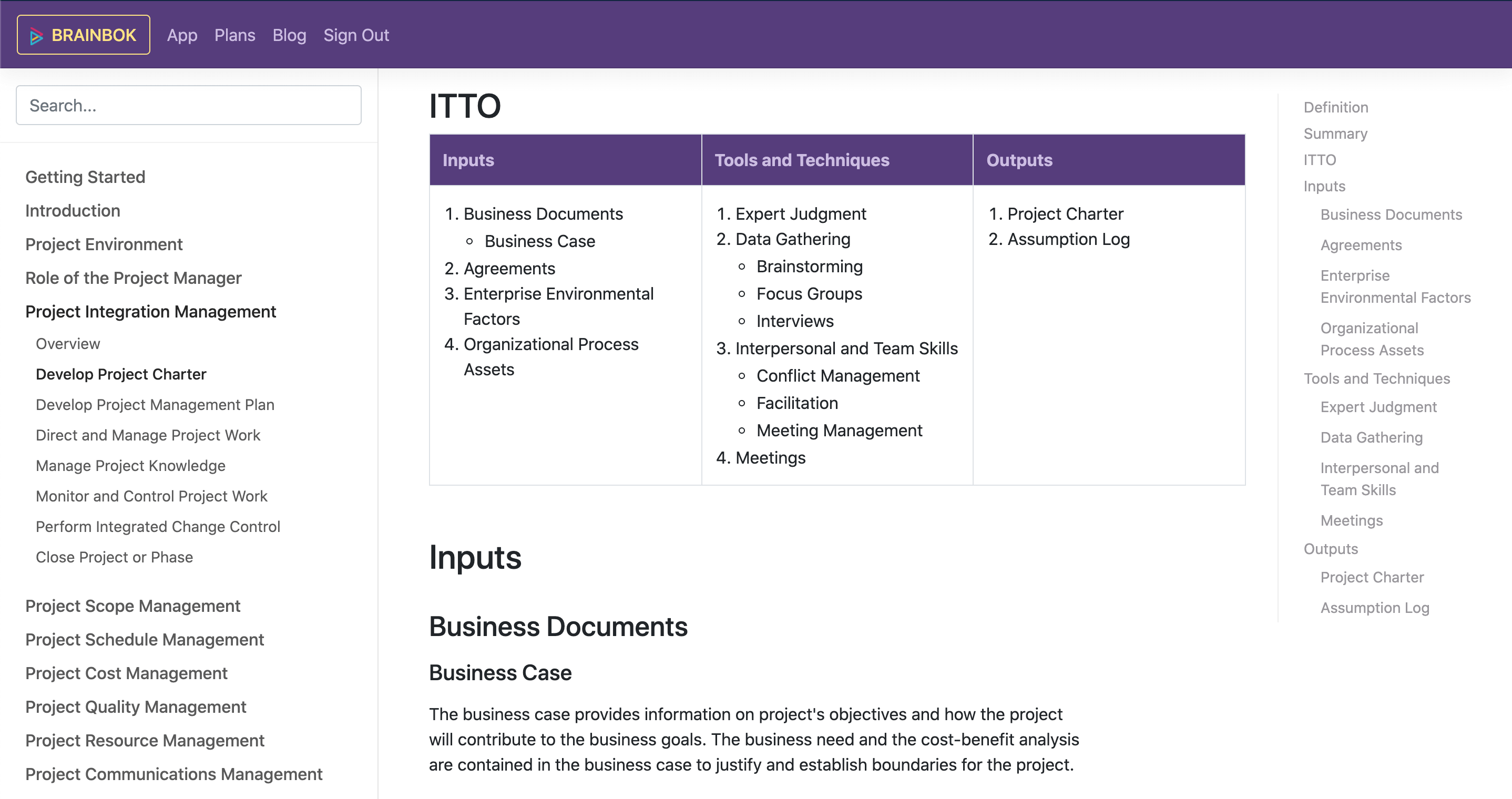PMP Study Guide with PMP ITTO Charts