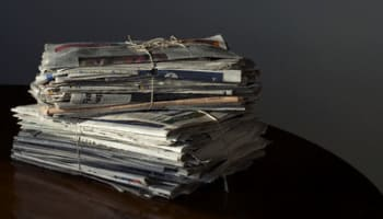 Stacks of Bundled Newspapers