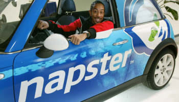 Def Jam recording Artist Ludacris Sits in the Napster Car