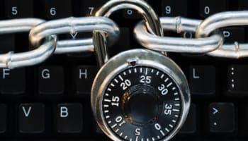 Lock on chain computer keyboard