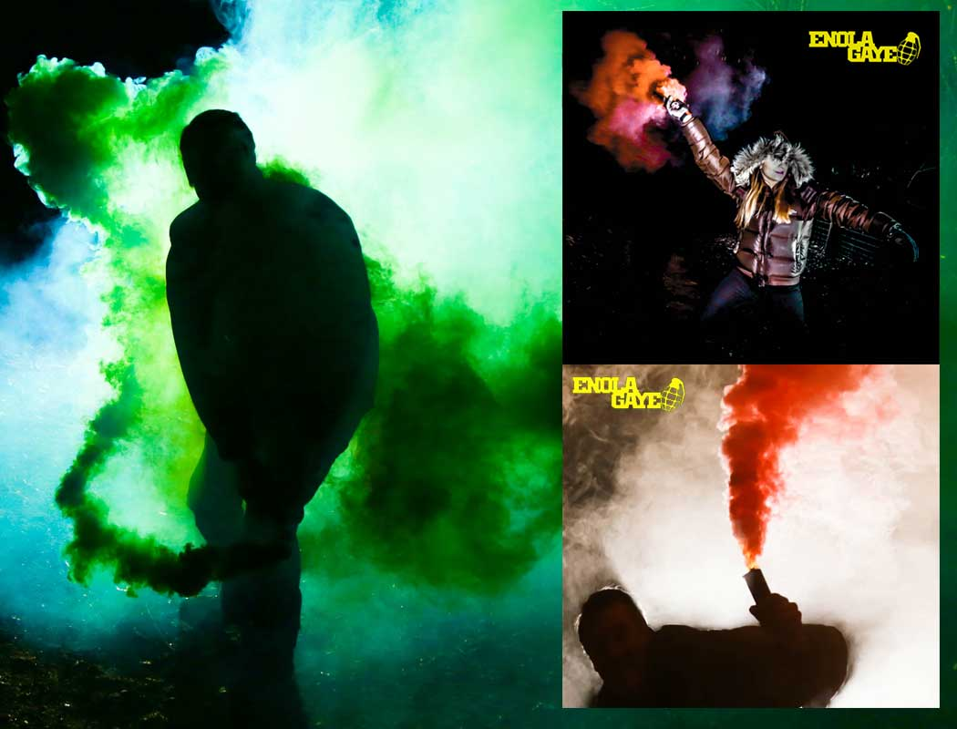 enola gaye smoke grenades photography