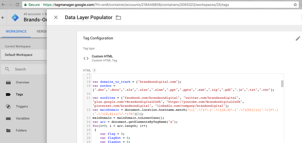 datalayer populator tag manager