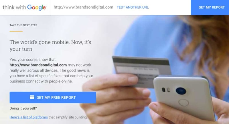 test my site - think with google mobile report