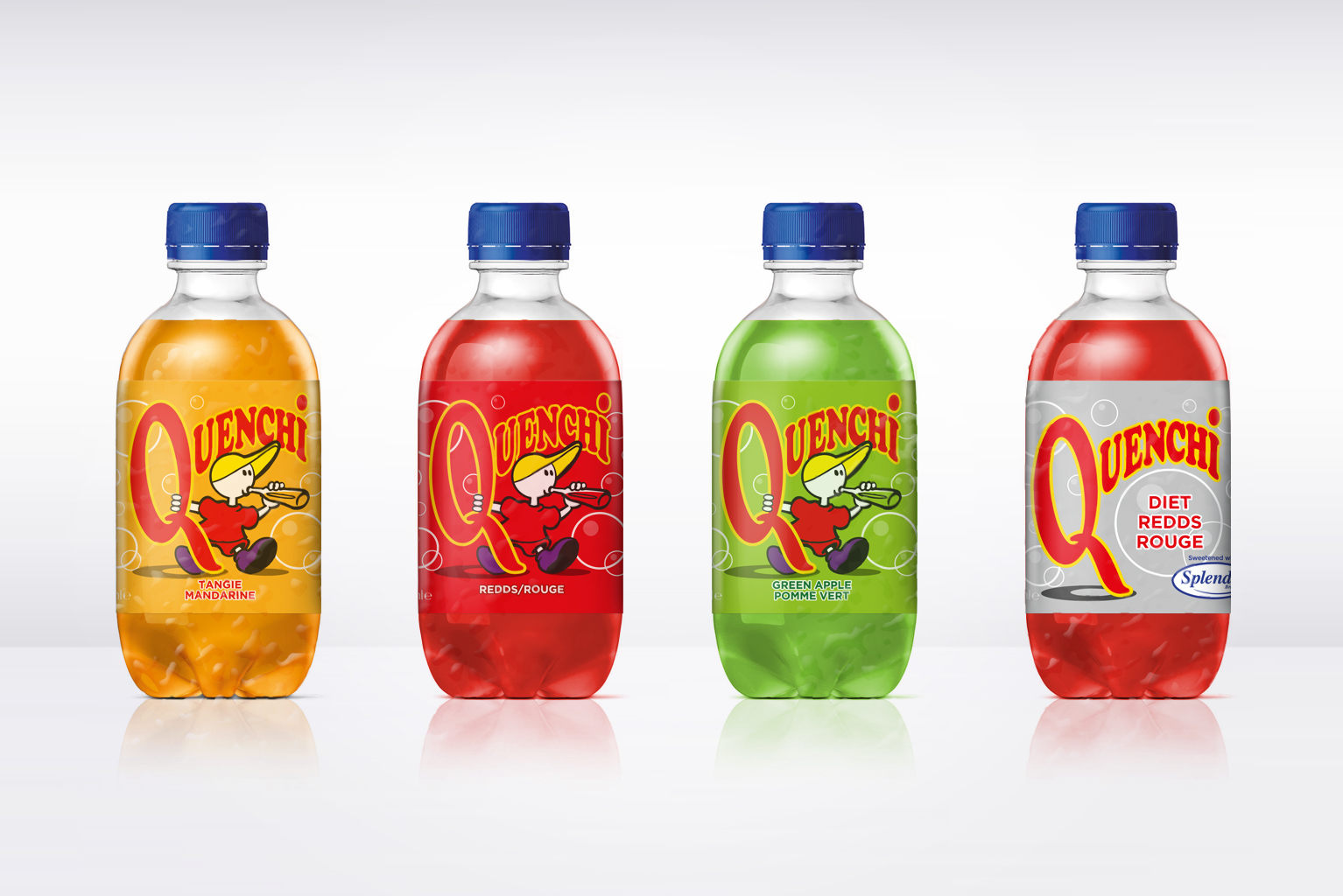Quenchi soft drink bottles