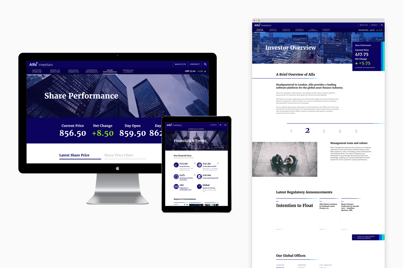 Alfa Investor Relations key pages responsive mockup