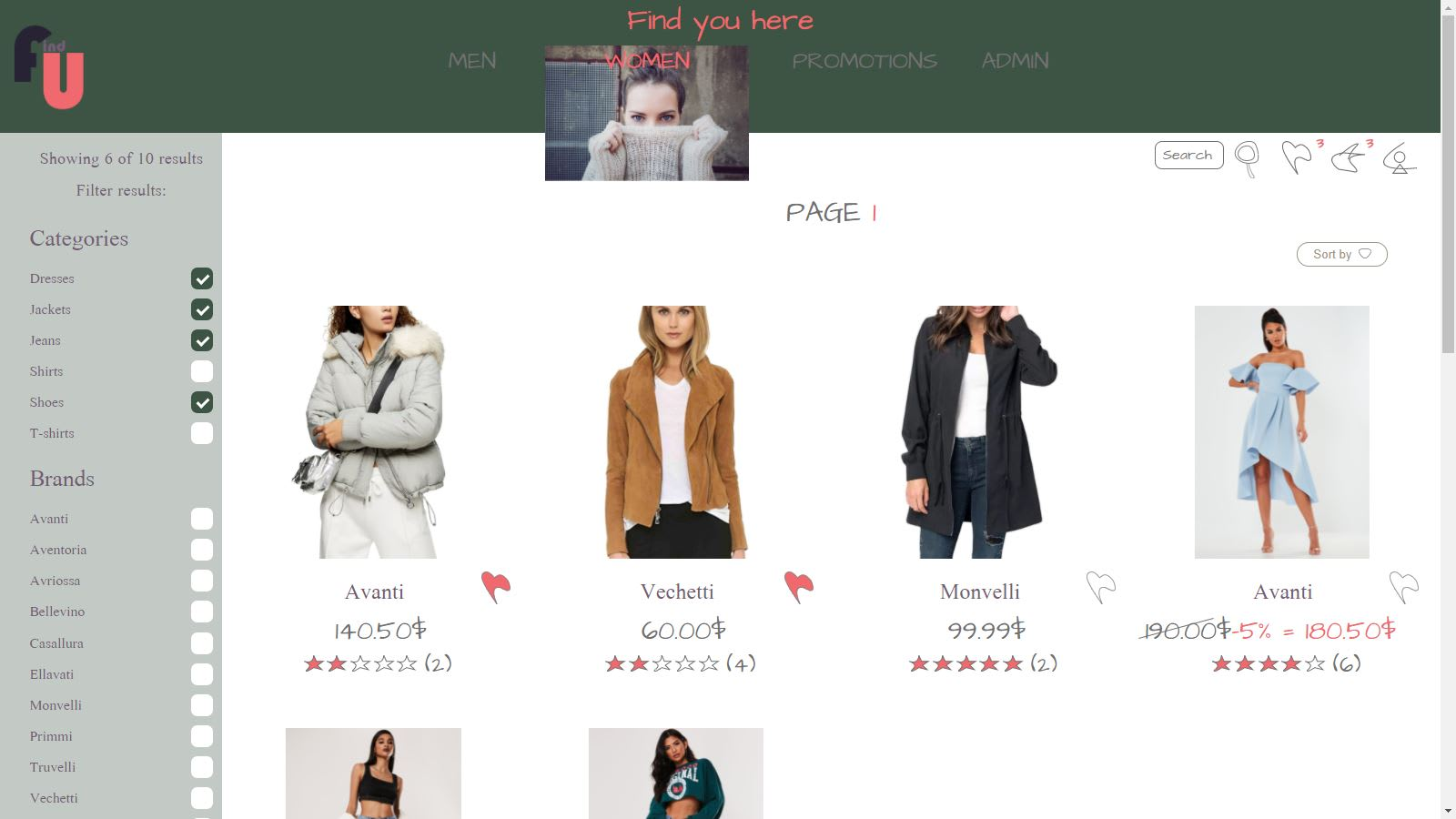 Products for women page on FindYou template