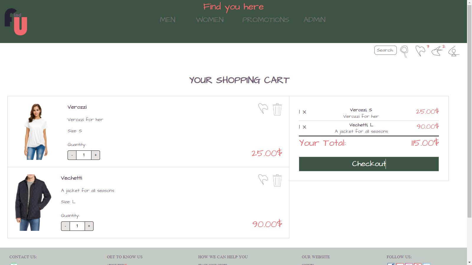 Shopping cart on FindYou template