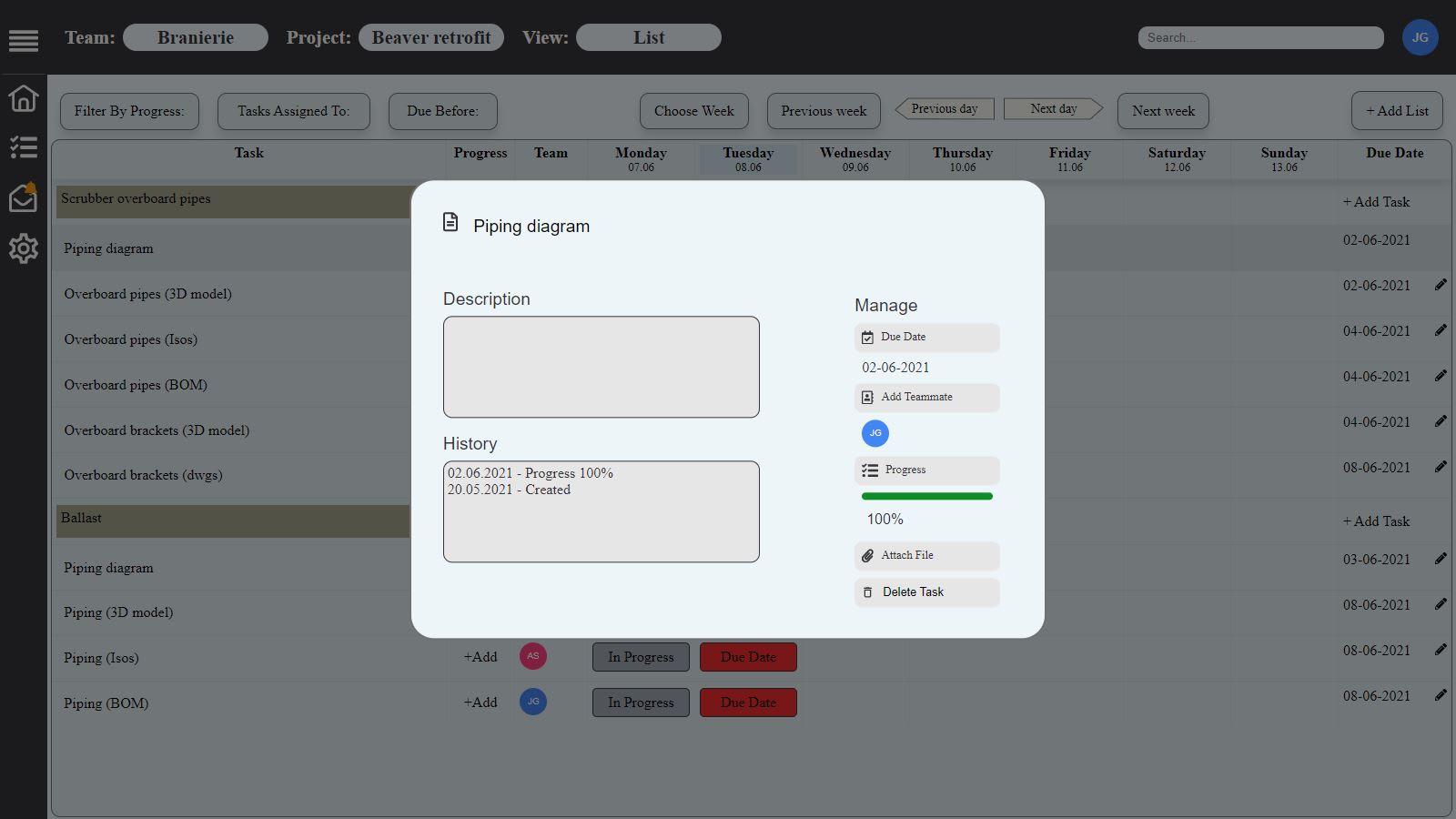 SmartManager task details window
