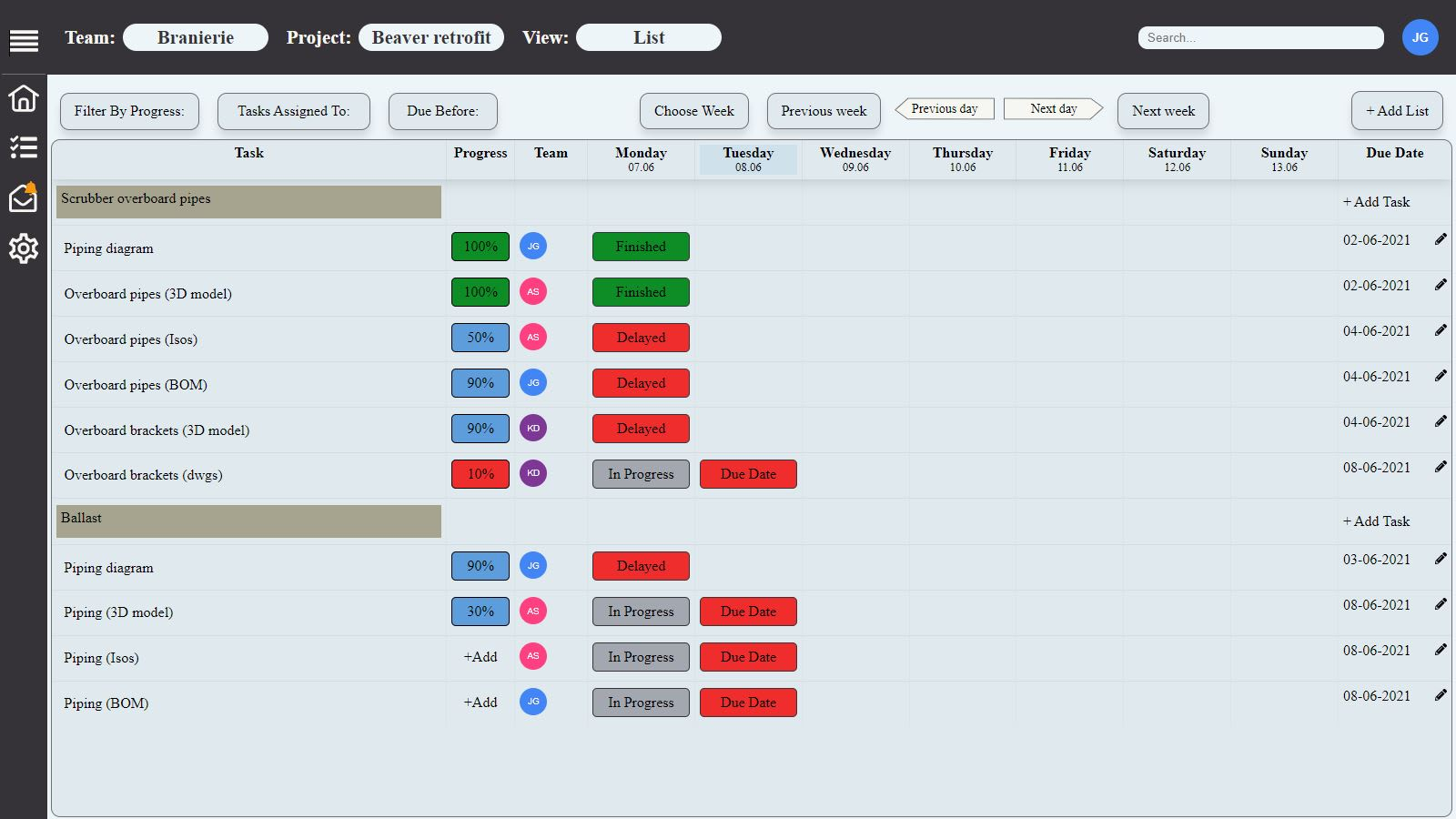 SmartManager project list view