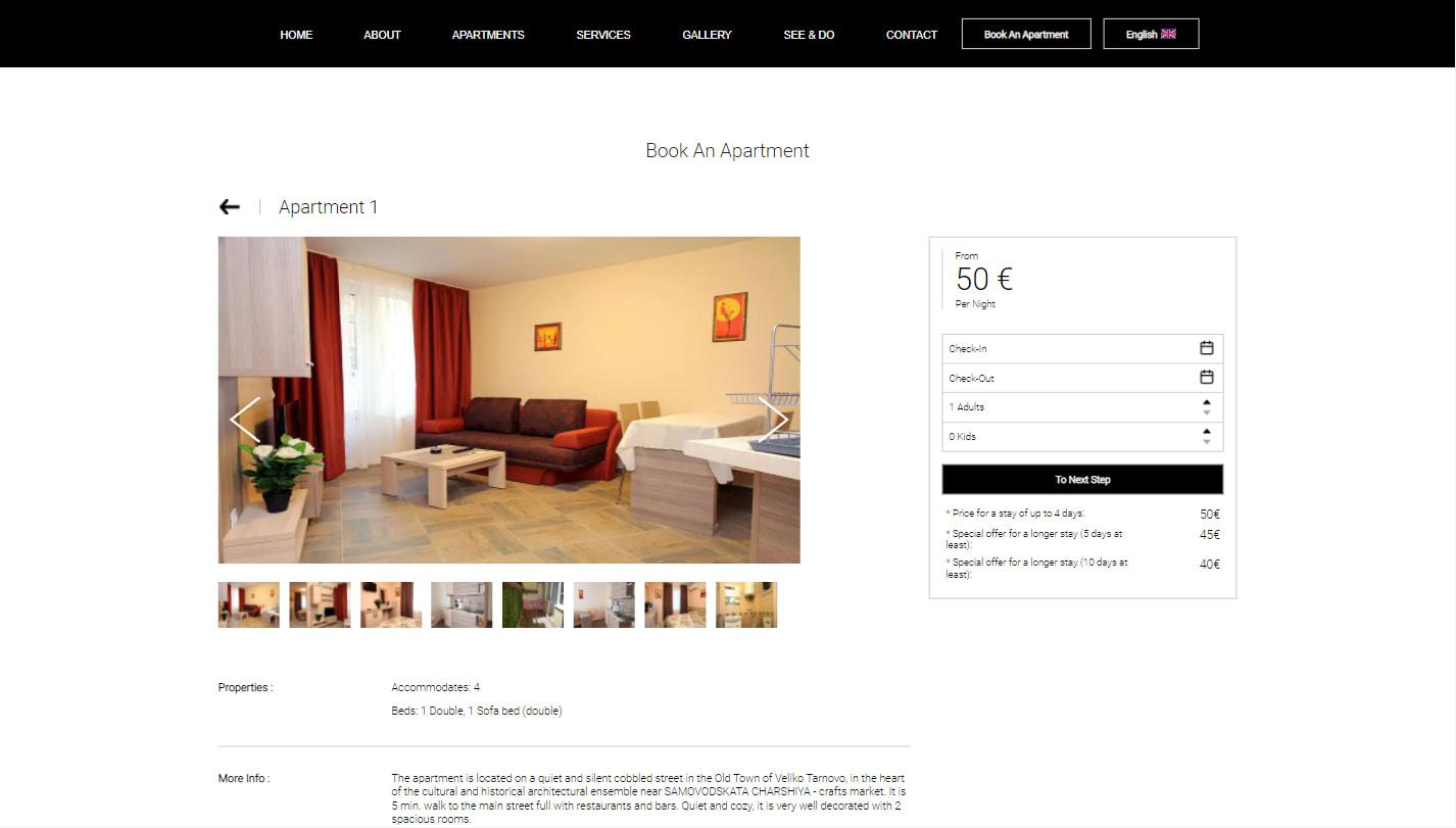 """Apartment details page of """"Kashtata s cheshmata"""""""