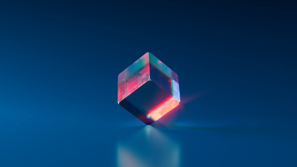 Blue background with a glass cube in the center