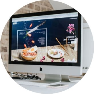 Computer screen with a cooking app