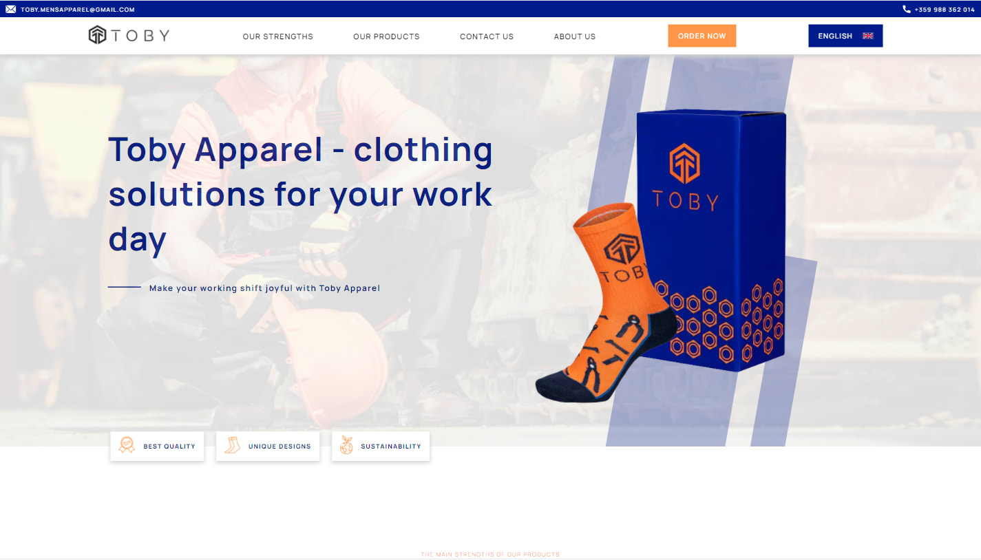Screenshot from Toby Apparel project