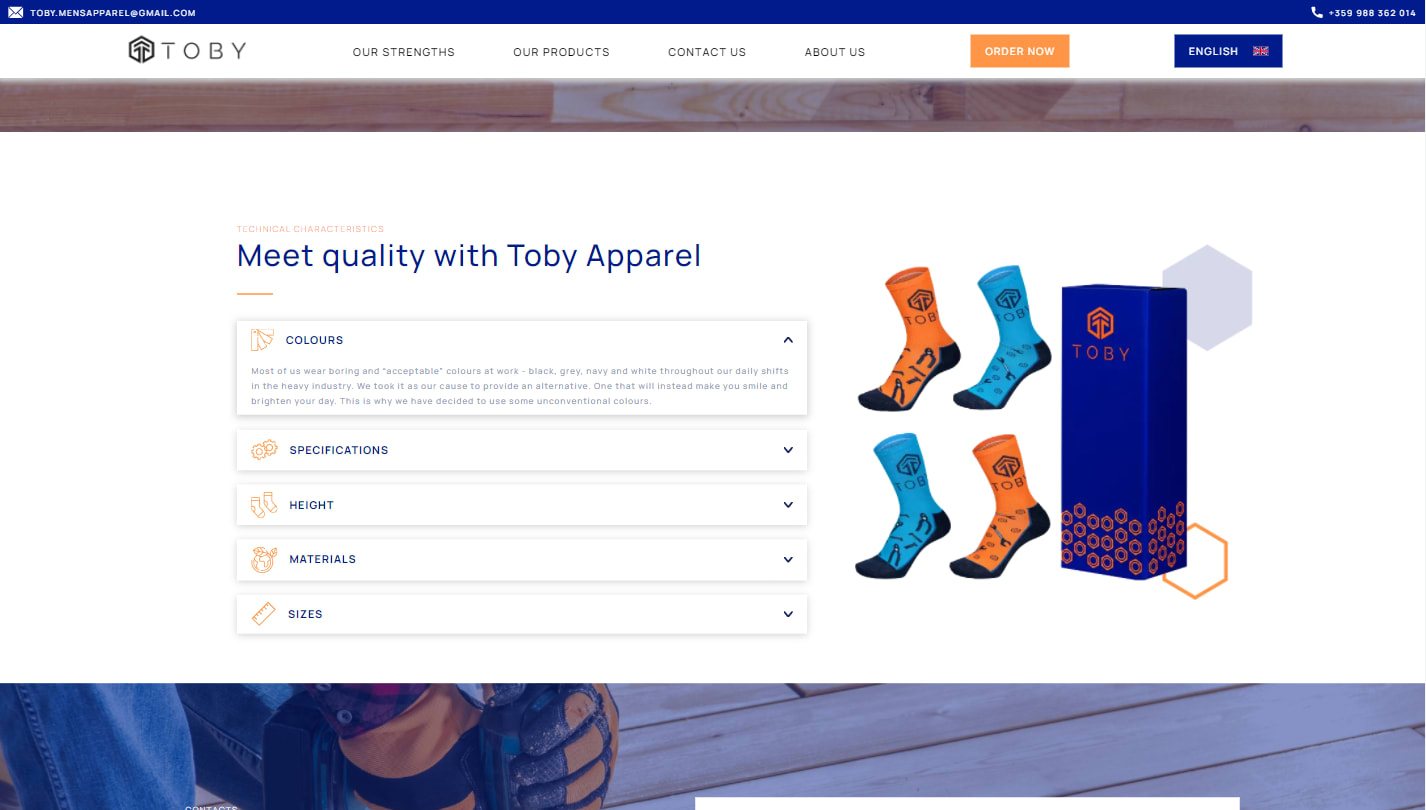Technical characteristics section of Toby Apparel