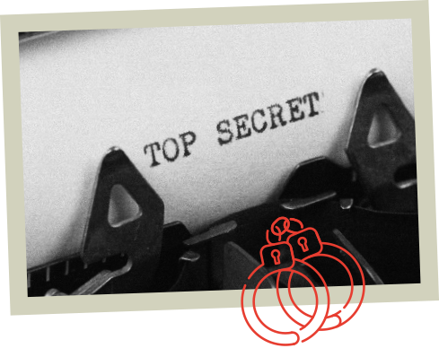 typewriter carriage with the words 'top secret'