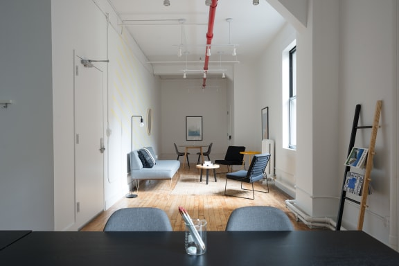 Workspace fully furnished and equipped located at 20 West 20th Street, #605, New York City.