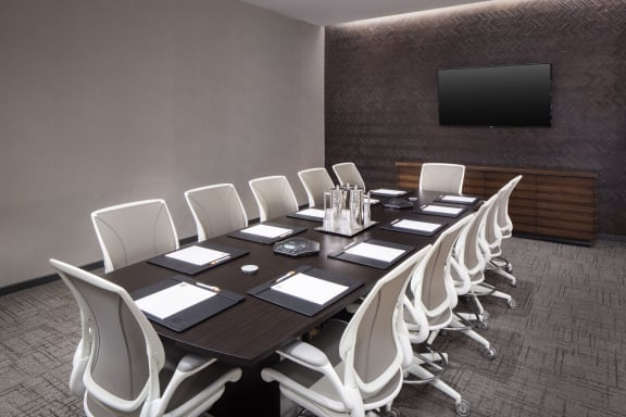 Workspace fully furnished and equipped located at 221 East 44th Street, #Conference Room/ Boardroom, New York City.