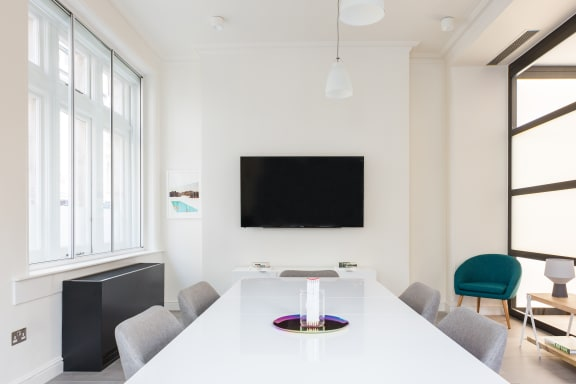 Workspace fully furnished and equipped located at 14 Golden Square, Soho, London.