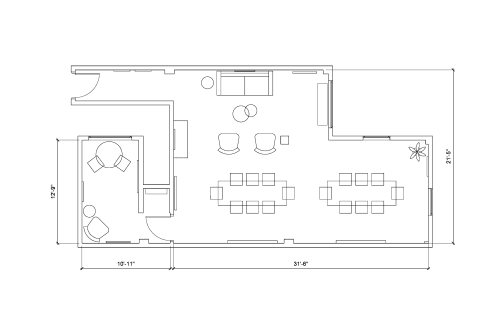 Floor-plan of 185 Clara St., 1st Floor, Suite 101B