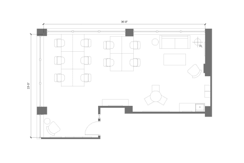 Floor-plan of 225 Friend Street, 8th Floor, Suite 805, Room 1