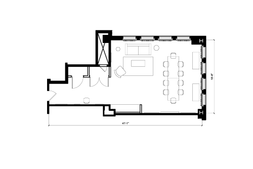Floor-plan of 608 Fifth Avenue, 8th Floor, Suite 809