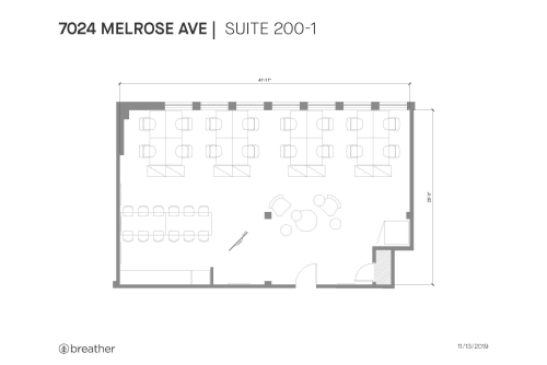 Floor-plan of 7024 Melrose Ave., 2nd Floor, Suite 200, Room 1
