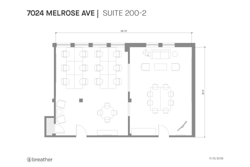 Floor-plan of 7024 Melrose Ave., 2nd Floor, Suite 200, Room 2