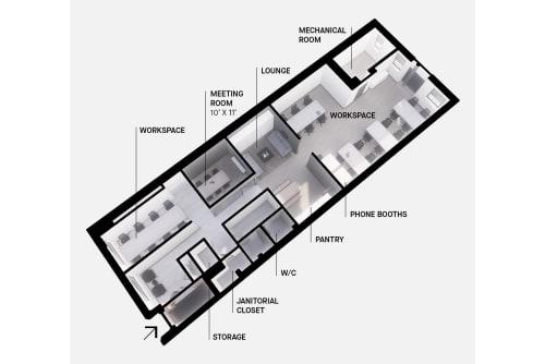 Floor-plan of 495 Adelaide St. West, 1st Floor, Suite 100
