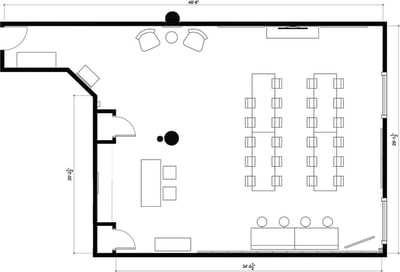 Floor plan for Breather office space 100 Crosby Street, 5th Floor, Suite 502