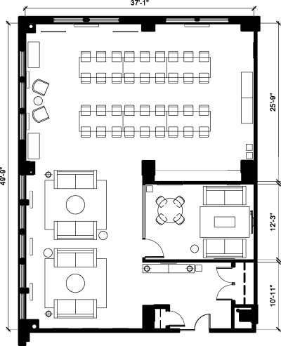 Floor plan for Breather office space 108 West 39th, 9th Floor, Suite 900