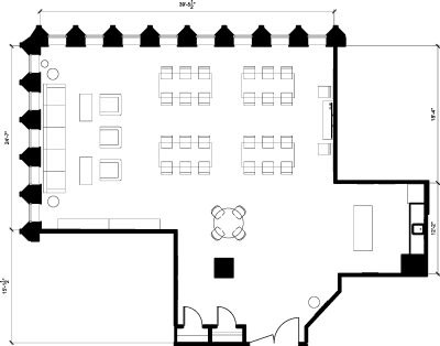 Floor plan for Breather office space 110 Yonge St., 17th Floor, Suite 1701