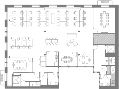 Floor plan for Breather office space Coming Soon: 111 New Montgomery St., 2nd Floor, Suite 200