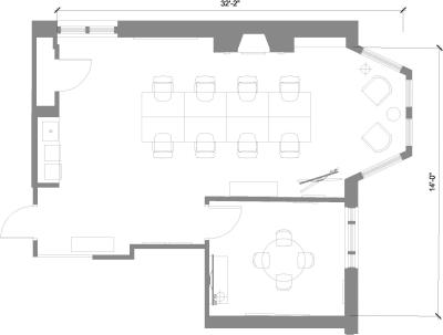Floor plan for Breather office space 115 Newbury Street, 5th Floor, Suite 504, Room 1