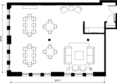 Floor plan for Breather office space 122 Hudson, 5th Floor, Suite 2