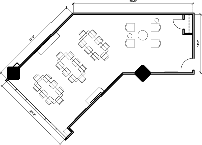 Floor plan for Breather office space 123 Front St. West, 9th Floor, Suite 907