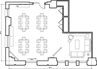 Floor plan for Breather office space 125 S. Clark, 6th Floor, Suite 675, Room 1