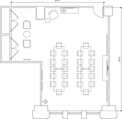 Floor plan for Breather office space 125 S. Clark, 6th Floor, Suite 675, Room 2