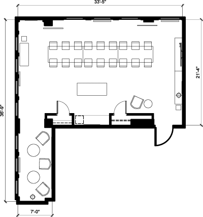 Floor plan for Breather office space 150 West 28th Street, 17th Floor, Suite 1703