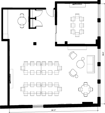 Floor plan for Breather office space 176 Grand St, 6th Floor, Suite 602