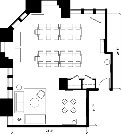 Floor plan for Breather office space Civic Opera Building, #2005-, 20 N. Wacker, 20th Floor, Suite 2005