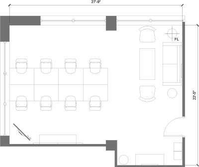 Floor plan for Breather office space 225 Friend Street, 8th Floor, Suite 805, Room 3