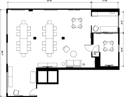 Floor plan for Breather office space 251 Post St., 5th Floor, Suite 510
