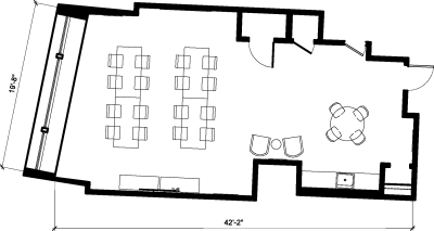Floor plan for Breather office space 262 Washington Street, 4th Floor, Suite 400, Room 1