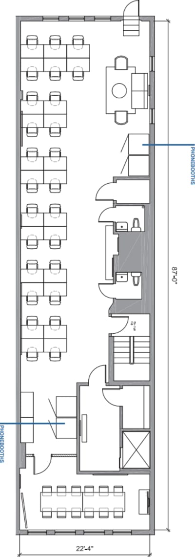 Floor plan for Breather office space 29 West 17th Street, 10th Floor
