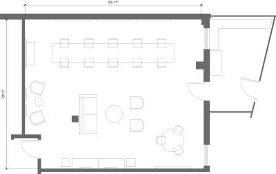 Floor plan for Breather office space 312 Venice Way, 1st Floor