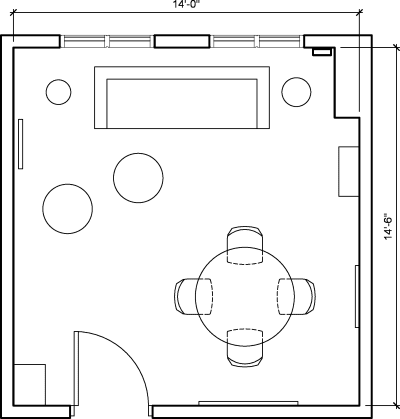 Floor plan for Breather office space 347 Fifth Avenue, 10th Floor, Suite 1006