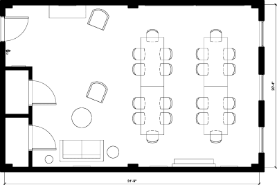 Floor plan for Breather office space 37 West 20th Street, 12th Floor, Suite 1207