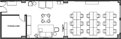 Floor plan for Breather office space 372 Rue Ste-Catherine O., 2nd Floor, Suite 212