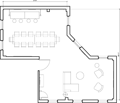 Floor plan for Breather office space 38 Rosebery Avenue, Clerkenwell, 3rd Floor, Room 3