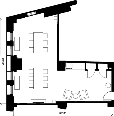 Floor plan for Breather office space 40 Exchange Place, 13th Floor, Suite 1302